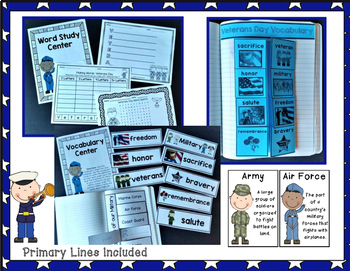 Veterans Day Activities for Reading, Writing, Word Study, and Social Studies