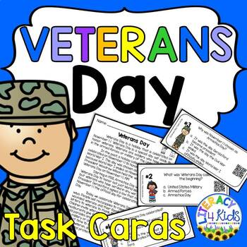 Veterans Day Task Cards and Informational Passage for Grad