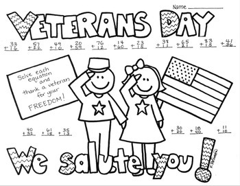 Veterans Day 2 digit (no regrouping) Addition Coloring Printable Worksheet