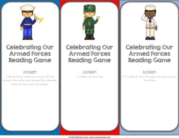 Veterans Day Activity: Celebrate Armed Forces Reading Game