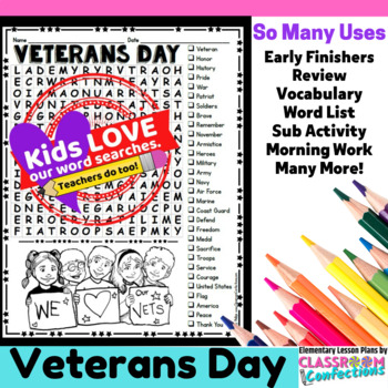 Veterans Day Word Search Activity