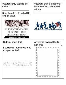 Veterans Day Mini Book Fill and Color