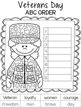 Veterans Day - ABC Order Activity Sheets