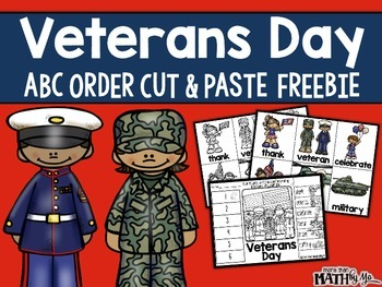 Veterans Day ABC Order Cut and Paste Printable---FREEBIE