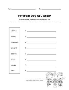 Veterans Day ABC Order (K-2)