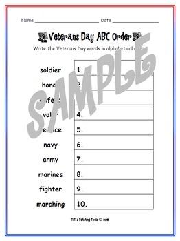 Veterans Day ABC Order Worksheet