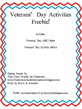 Veterans' Day ABC Order and Syllable Match FREEBIE!