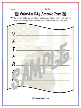 veterans day acrostic poem by titi s teaching tools tpt