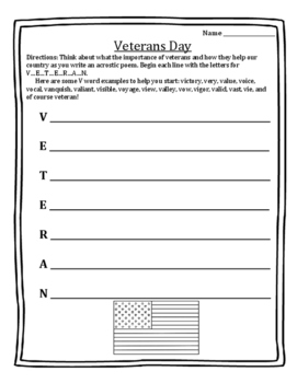 veterans day acrostic poem teaching resources teachers pay teachers