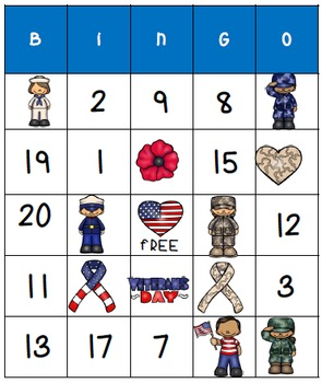 Veterans Day Fun - Math Activity: Bingo