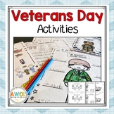 Veterans Day Unit - Activities Worksheets and Crafts for K-3