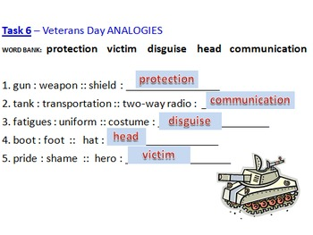 Veterans Day Activities Power Point use to guide Word Doc activities