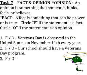 Veterans Day Activities Word Document