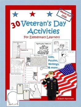 Veteran's Day Activities for Grades 3-8