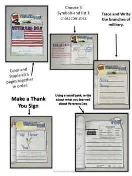 Veterans Day Activities for Kindergarten and 1st Grade WEEK PLAN Layered Book