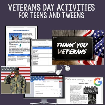 Veterans Day Activities for Teens and Tweens - Google Classroom Compatible
