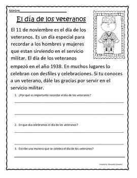 Veterans Day Activities in Spanish