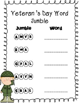 Veteran's Day Activity Bundle