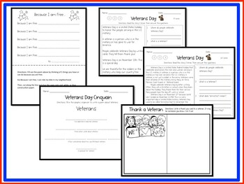 Veterans Day Activity (Differentiated Reading & Writing)