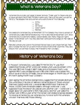 Veterans Day NO PREP Activity Pack