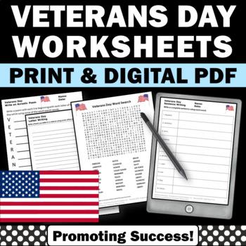 Veterans Day Activities, Language Arts Worksheets, Patriotic Theme