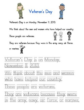 Veteran's Day Activity pages first grade