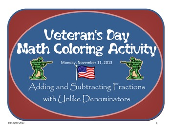 Veteran's Day - Adding and Subtracting Fractions Coloring Picture -American Flag