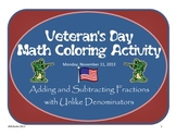 Veteran's Day - Adding and Subtracting Fractions Coloring