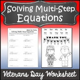 Veterans Day Algebra Activity {Solving Multi-Step Equations Worksheet}