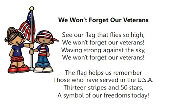 Veteran's Day Anthem/We Won't Forget/ Elementary Choral