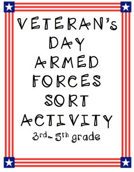 Veteran's Day Armed Forces Sort Activity