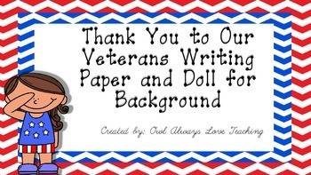 Veterans Day Art and Thank you letter