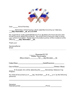 Veterans' Day Assembly Invitation to Parents