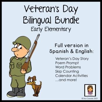 Veterans Day Bilingual Spanish/English Writing, Reading, Math Bundle