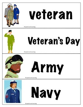 Veteran's Day Mini Reader Book, Vocabulary Cards, Spinner & Foldable