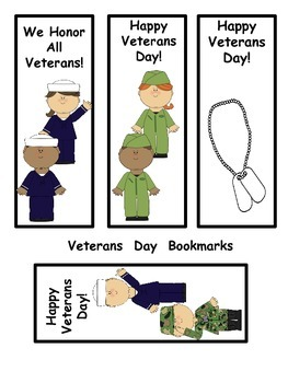 Veterans Day Book Marks