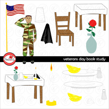 Veterans Day Book Study Clipart Set by Poppydreamz