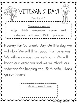 Veteran's Day! CCSS Aligned Leveled Reading Passages and Activities