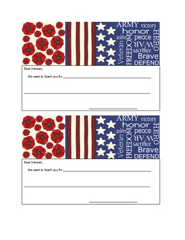 Veteran's Day Card-Freebie
