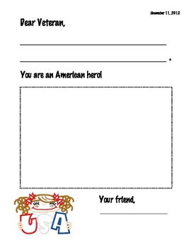 Veteran 39 s day card writing template by el 39 s kindergarten tpt for Veterans day thank you letter template