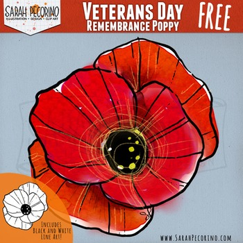 Veterans Day Clip Art - Poppy - Remembrance