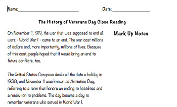 Veterans Day Close Reading