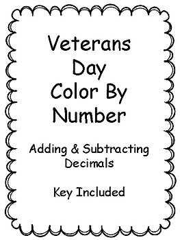 Veterans Day - Color By Number, Key Included, No Prep