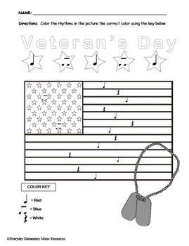 Veterans Day Color By Rhythm- Quarter Notes & Eighth Notes & Rest