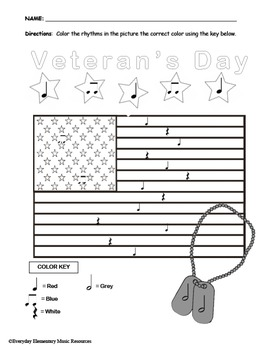 Veterans Day Color By Rhythm- Quarter Notes & Eighth Notes & Rest & Half Notes