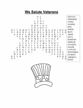 Veterans Day Color Page, Word Find and Poster Print