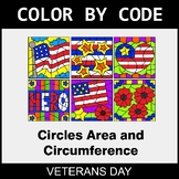 Veterans Day Color by Code - Circles Area & Circumference