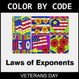Veterans Day Color by Code - Laws of Exponents