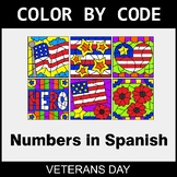 Veterans Day Color by Code - Numbers in Spanish