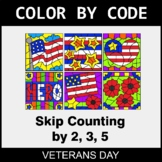 Veterans Day Color by Code - Skip Counting by 2, 3, 5